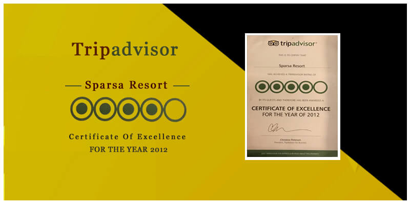Certificate of Excellence 2012 by Tripadvisor