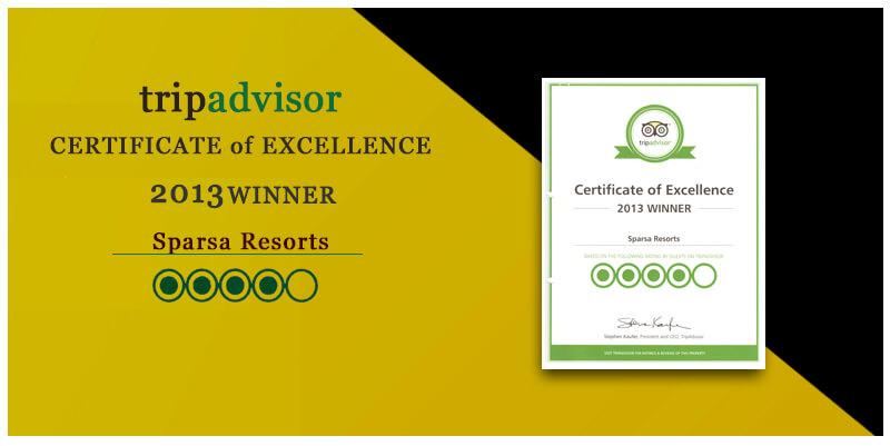 certificate of Excellence 2013 winner by tripadvisor