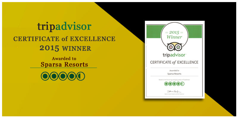 certificate of Excellence 2015 by tripadvisor